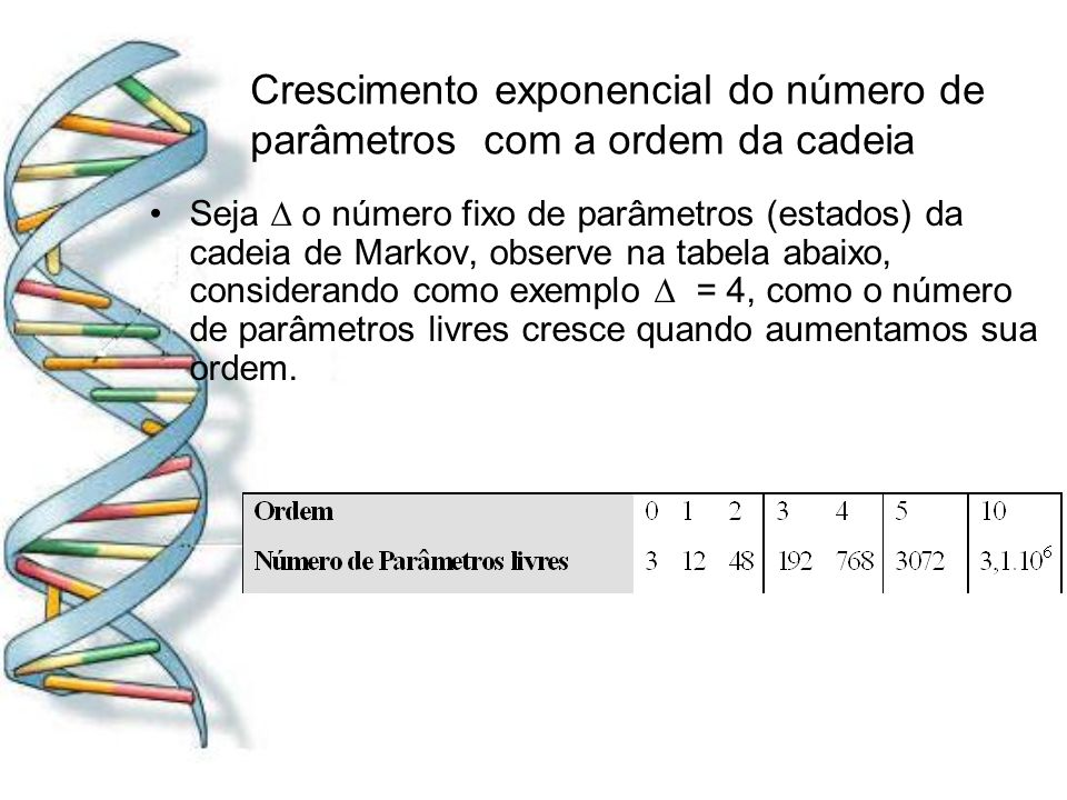 Crescimento exponencial do número de parâmetros com a ordem da cadeia