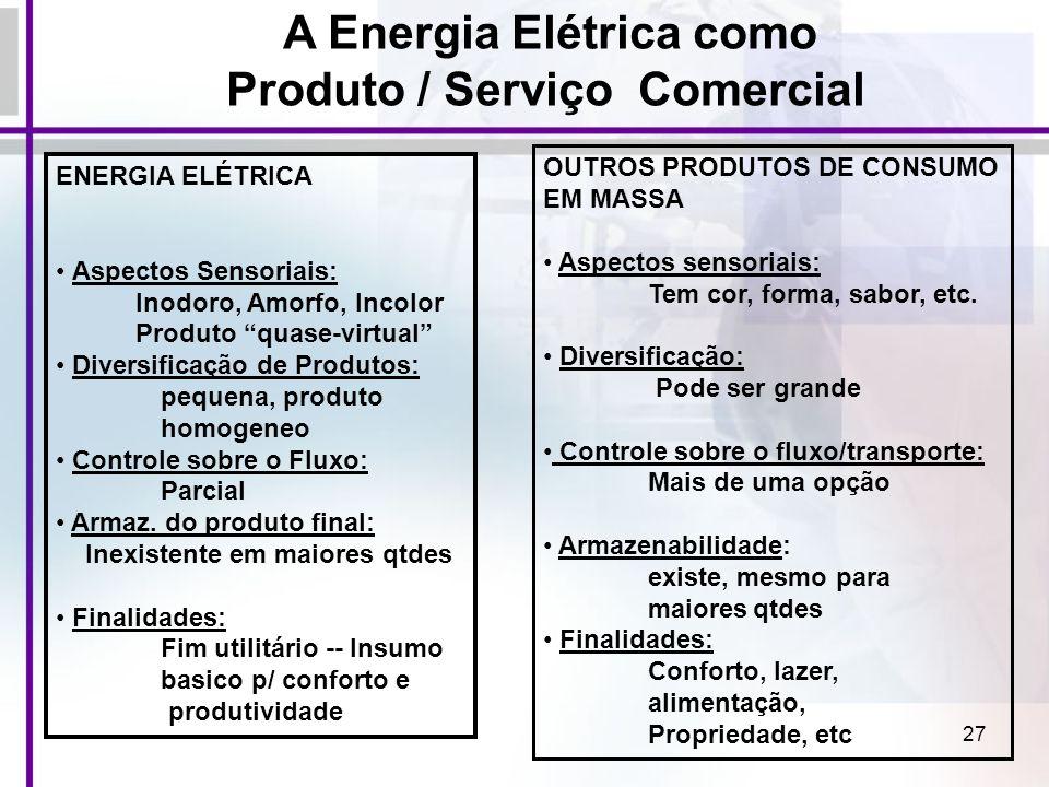 A Energia Elétrica como Produto / Serviço Comercial