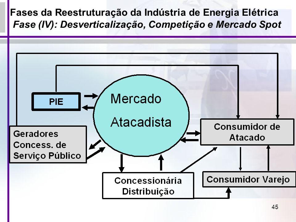 Fases da Reestruturação da Indústria de Energia Elétrica Fase (IV): Desverticalização, Competição e Mercado Spot