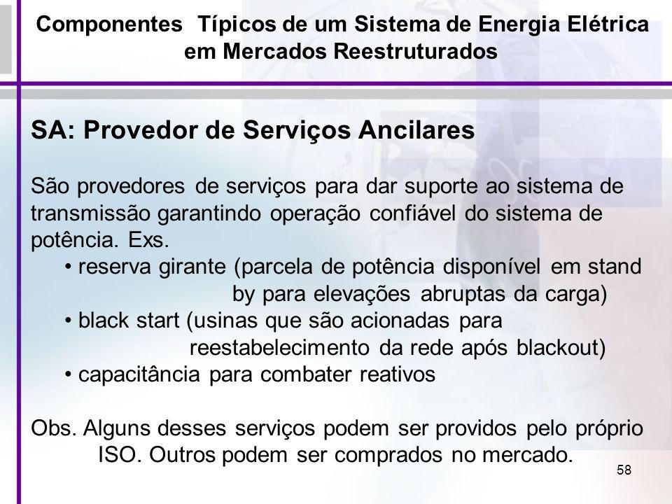 SA: Provedor de Serviços Ancilares