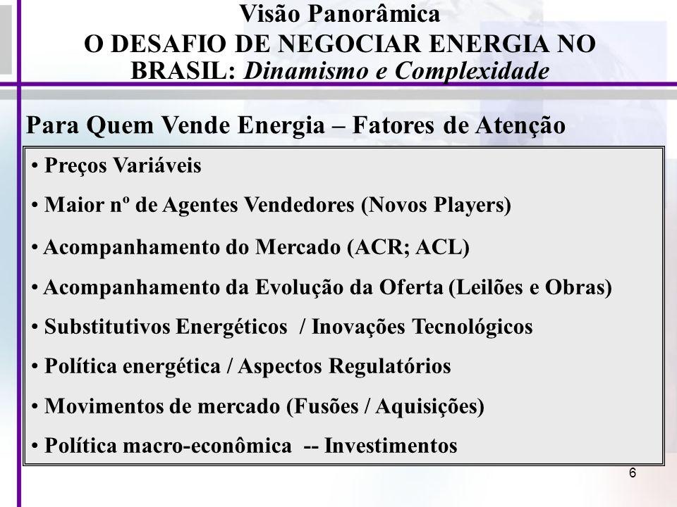 O DESAFIO DE NEGOCIAR ENERGIA NO BRASIL: Dinamismo e Complexidade