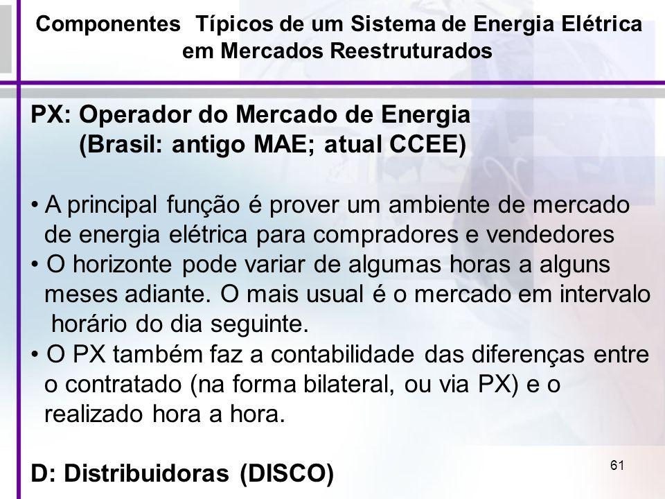PX: Operador do Mercado de Energia (Brasil: antigo MAE; atual CCEE)