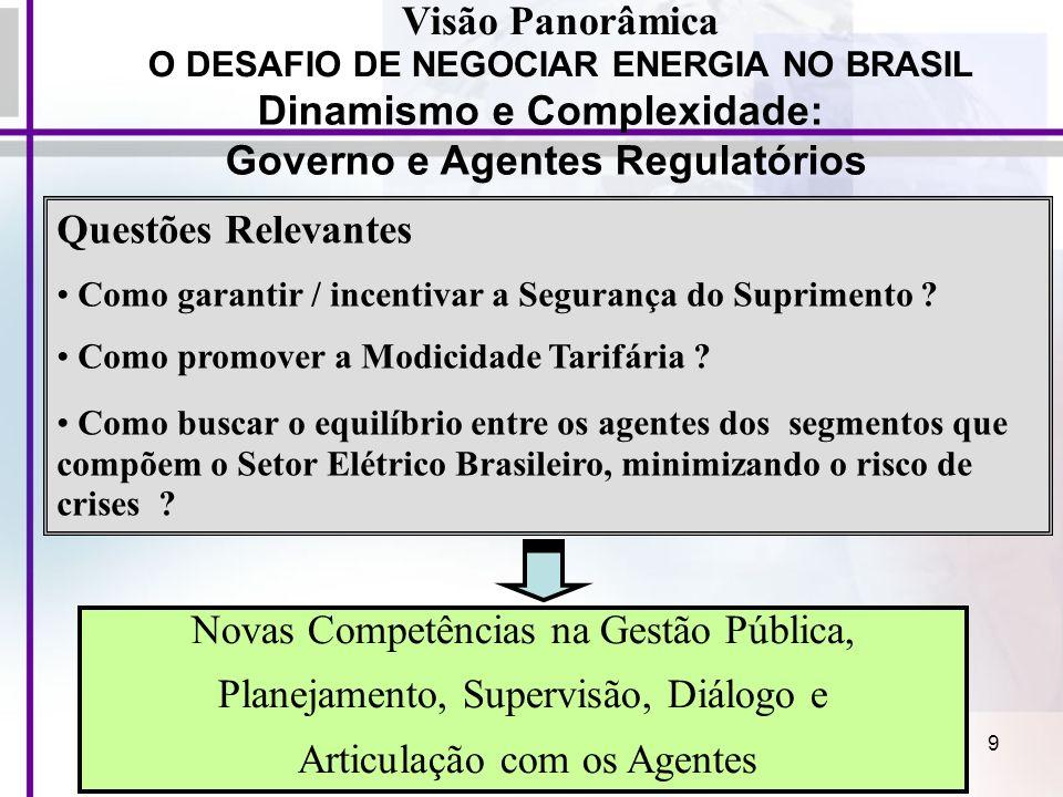 Dinamismo e Complexidade: Governo e Agentes Regulatórios