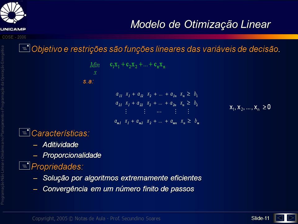 Modelo de Otimização Linear