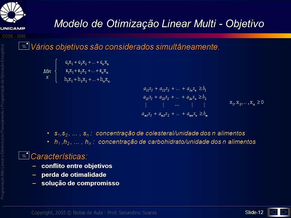 Modelo de Otimização Linear Multi - Objetivo