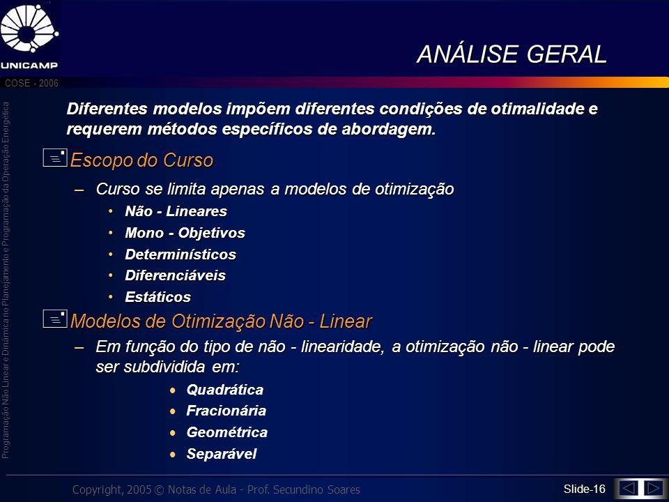 ANÁLISE GERAL Escopo do Curso Modelos de Otimização Não - Linear