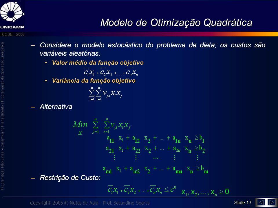 Modelo de Otimização Quadrática