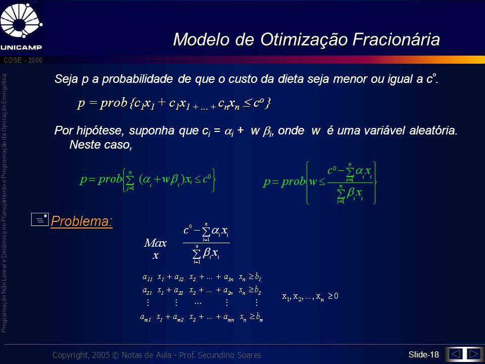 Modelo de Otimização Fracionária