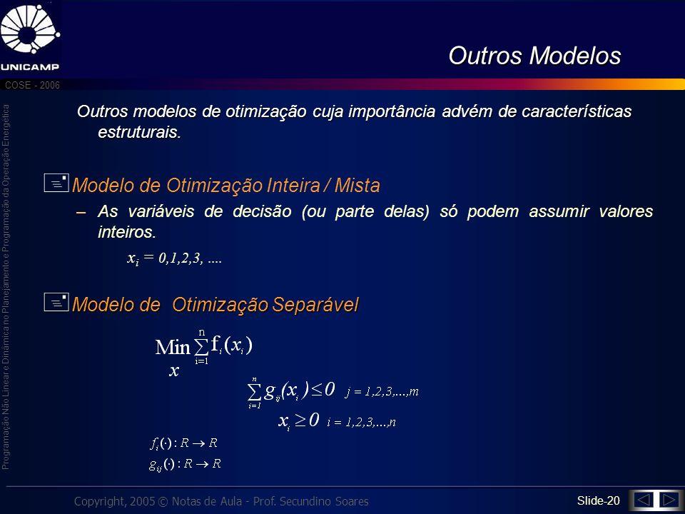 Outros Modelos Modelo de Otimização Inteira / Mista