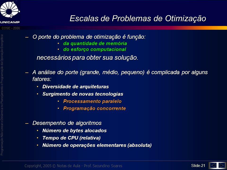 Escalas de Problemas de Otimização