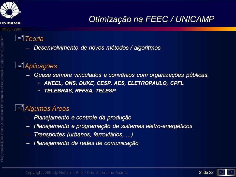Otimização na FEEC / UNICAMP