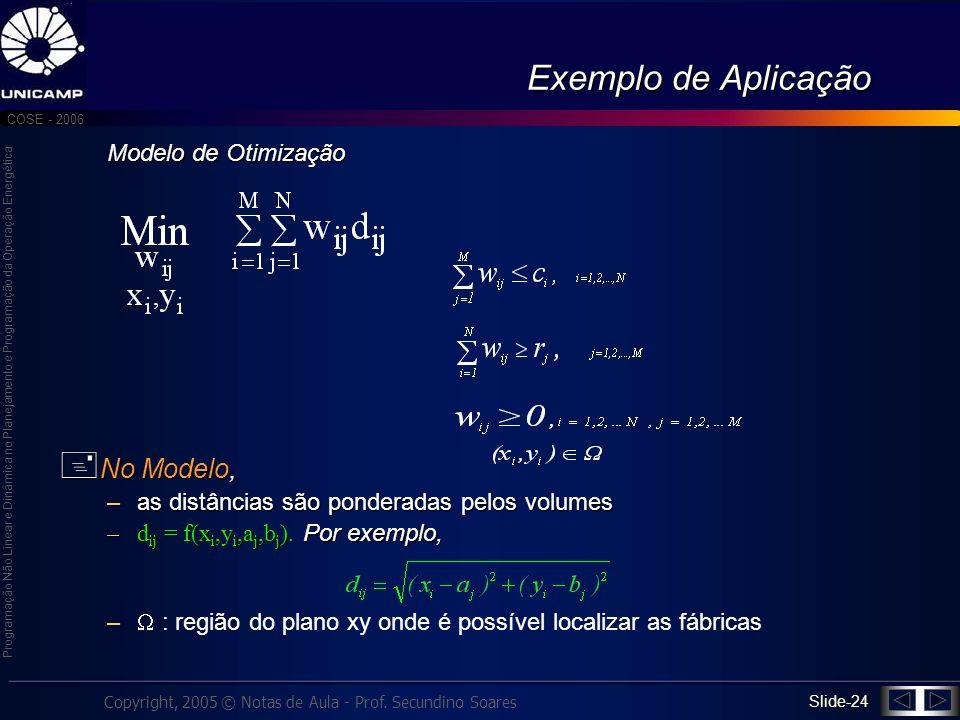 Exemplo de Aplicação No Modelo, Modelo de Otimização