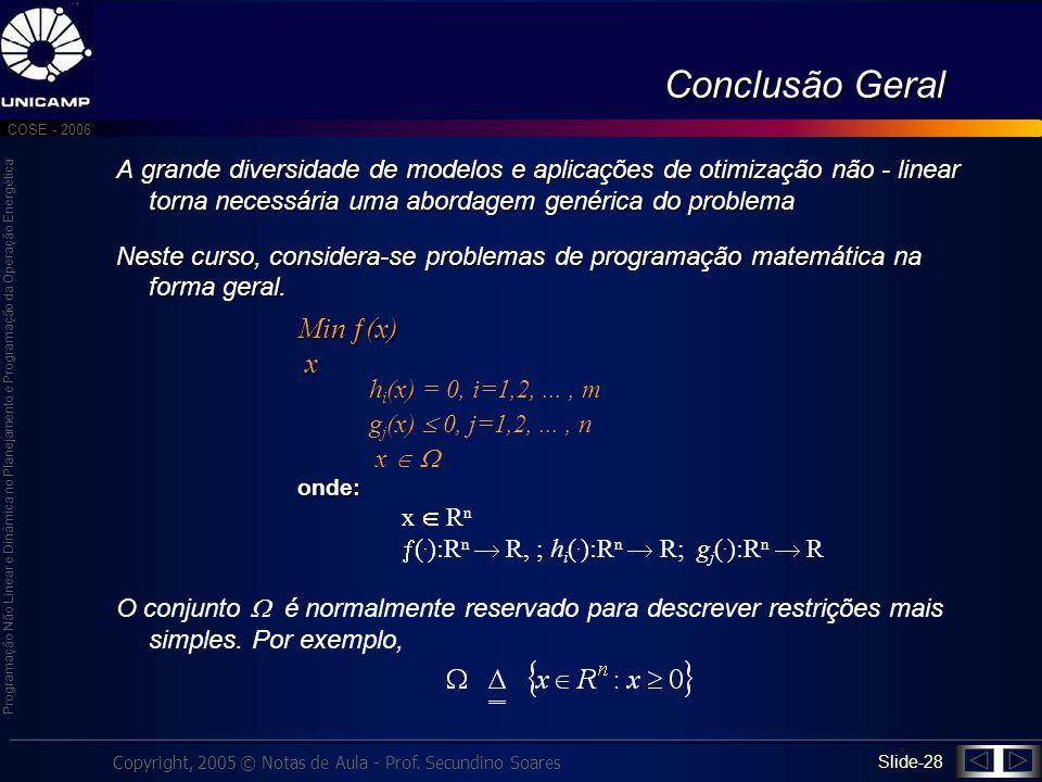 Conclusão Geral Min (x) x