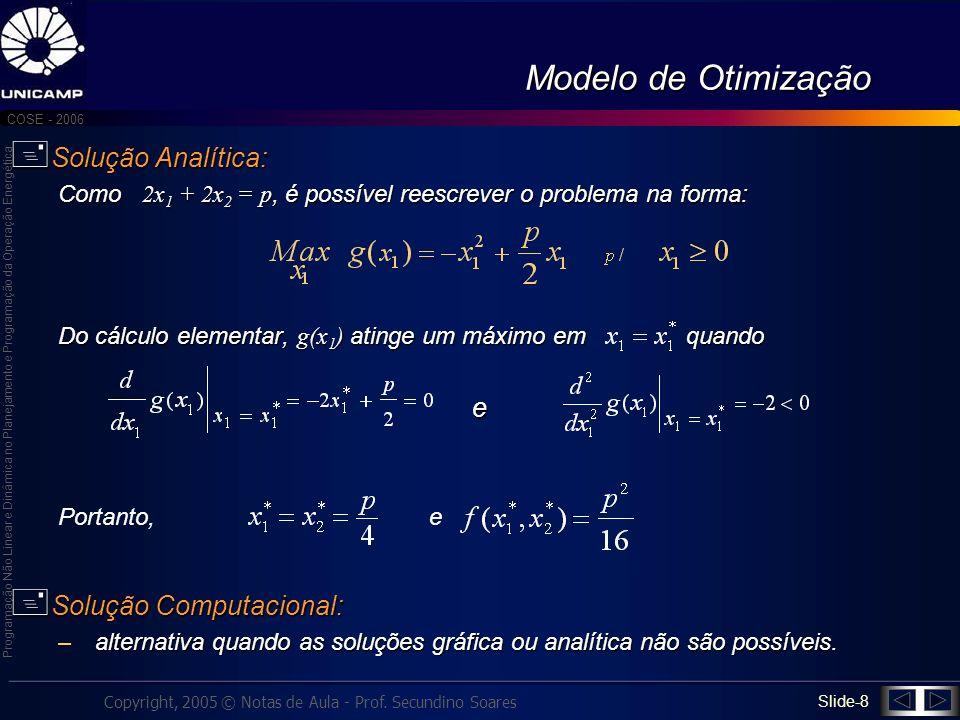 Modelo de Otimização Solução Analítica: e Solução Computacional: