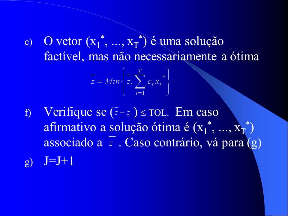 O vetor (x1*, ..., xT*) é uma solução factível, mas não necessariamente a ótima