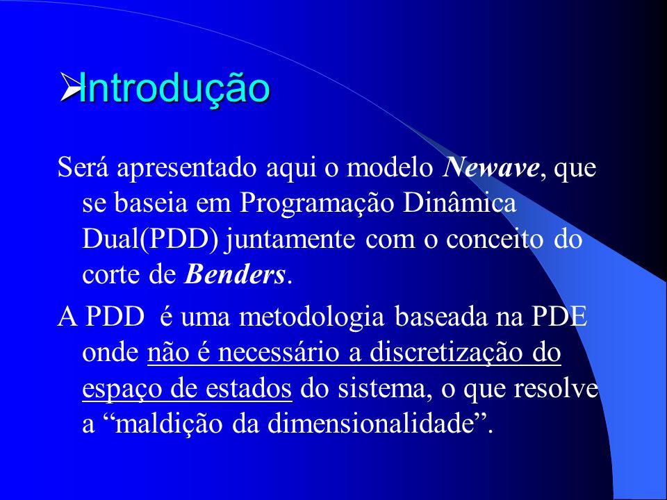 Introdução Será apresentado aqui o modelo Newave, que se baseia em Programação Dinâmica Dual(PDD) juntamente com o conceito do corte de Benders.