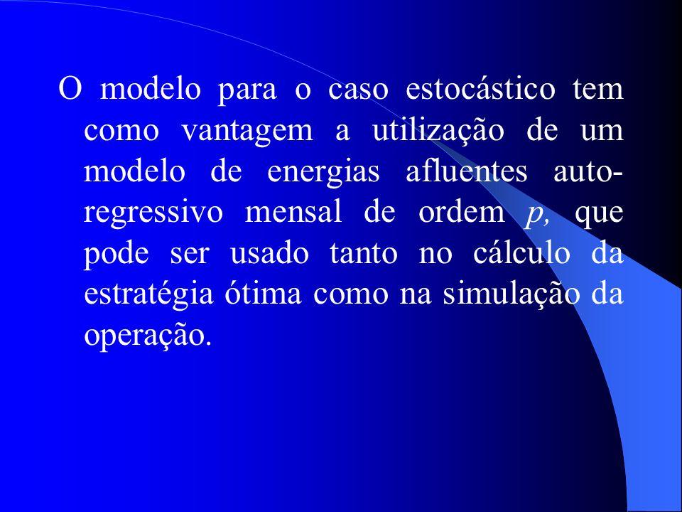 O modelo para o caso estocástico tem como vantagem a utilização de um modelo de energias afluentes auto-regressivo mensal de ordem p, que pode ser usado tanto no cálculo da estratégia ótima como na simulação da operação.