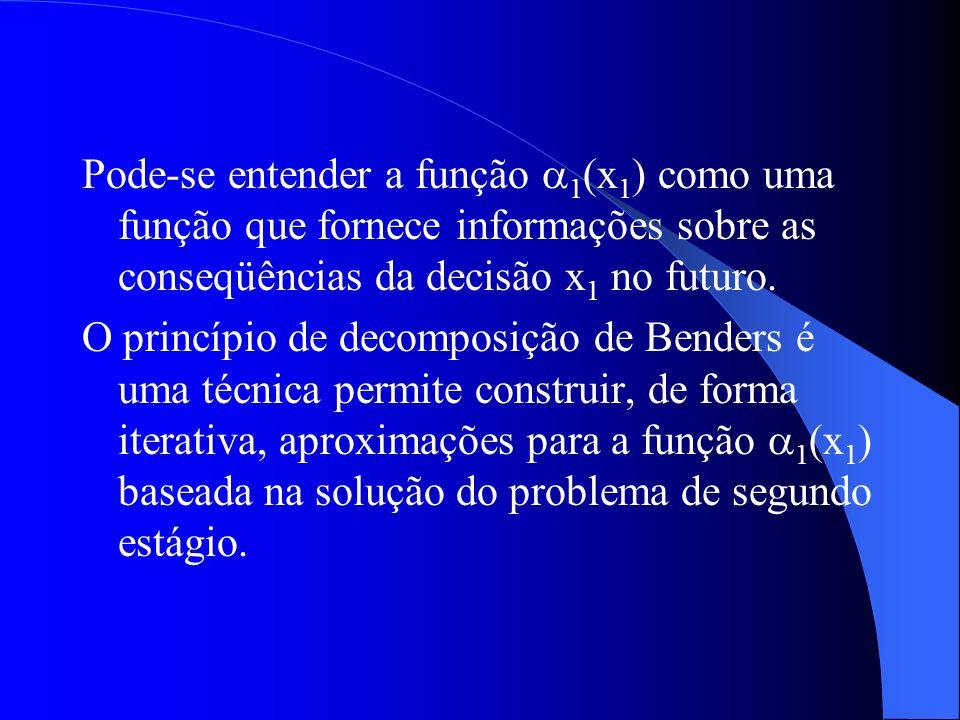 Pode-se entender a função 1(x1) como uma função que fornece informações sobre as conseqüências da decisão x1 no futuro.