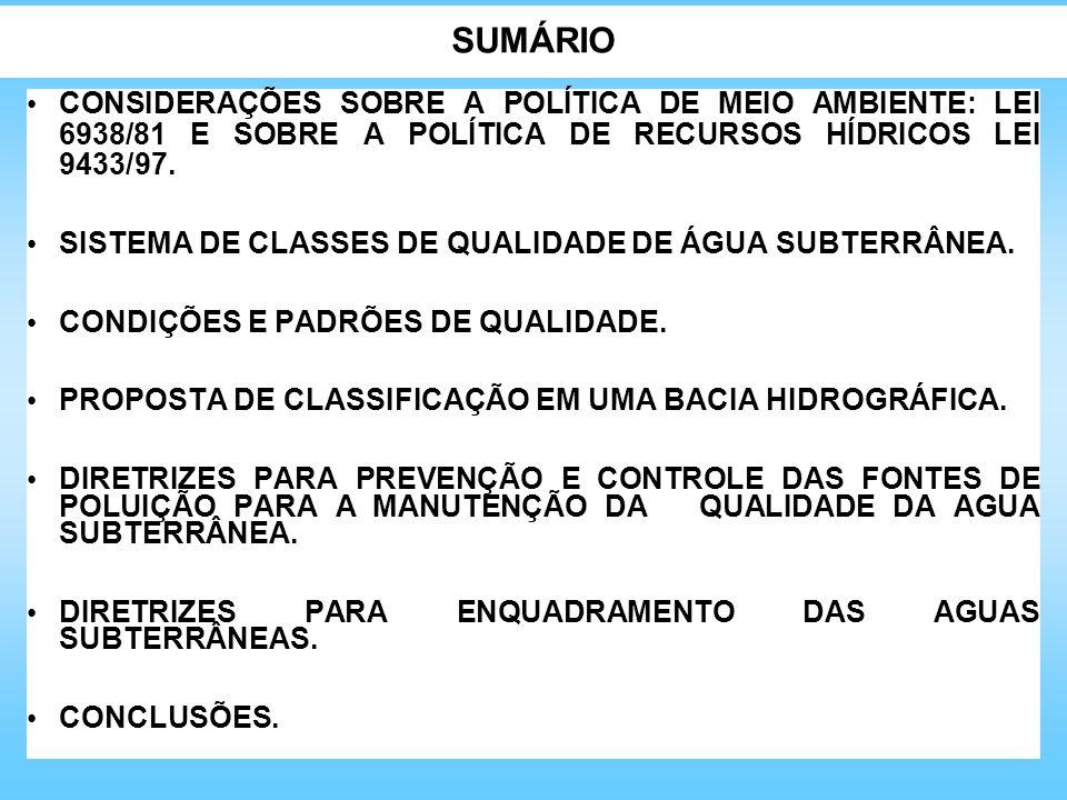 SUMÁRIO CONSIDERAÇÕES SOBRE A POLÍTICA DE MEIO AMBIENTE: LEI 6938/81 E SOBRE A POLÍTICA DE RECURSOS HÍDRICOS LEI 9433/97.