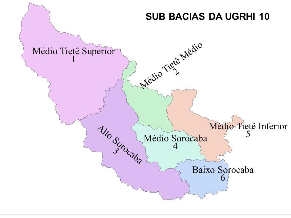 SUB BACIAS DA UGRHI 10Médio Tietê Superior. 1. Médio Tietê Médio. 2. Médio Tietê Inferior. 5. Médio Sorocaba.