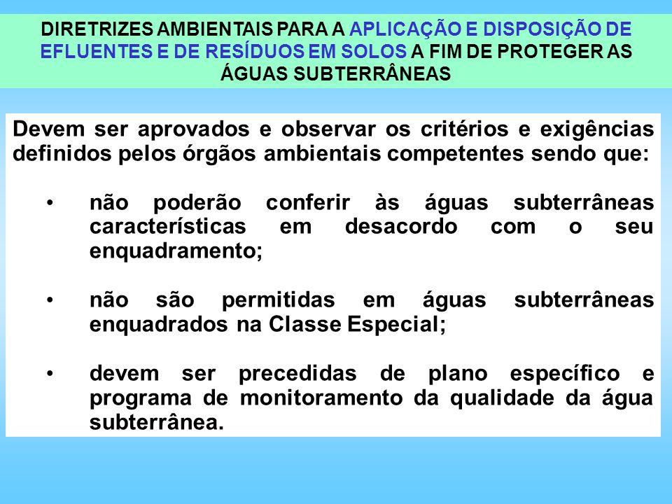 DIRETRIZES AMBIENTAIS PARA A APLICAÇÃO E DISPOSIÇÃO DE EFLUENTES E DE RESÍDUOS EM SOLOS A FIM DE PROTEGER AS ÁGUAS SUBTERRÂNEAS
