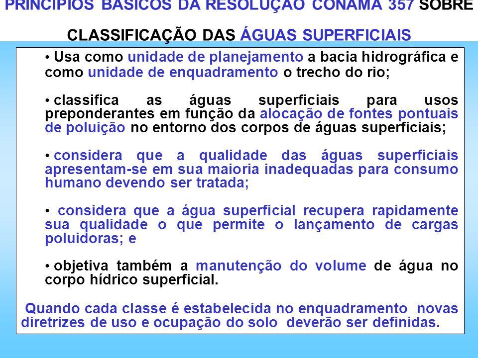PRINCÍPIOS BÁSICOS DA RESOLUÇÃO CONAMA 357 SOBRE CLASSIFICAÇÃO DAS ÁGUAS SUPERFICIAIS