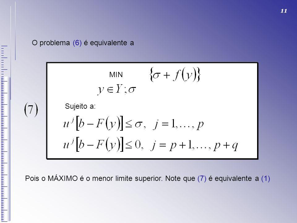O problema (6) é equivalente a