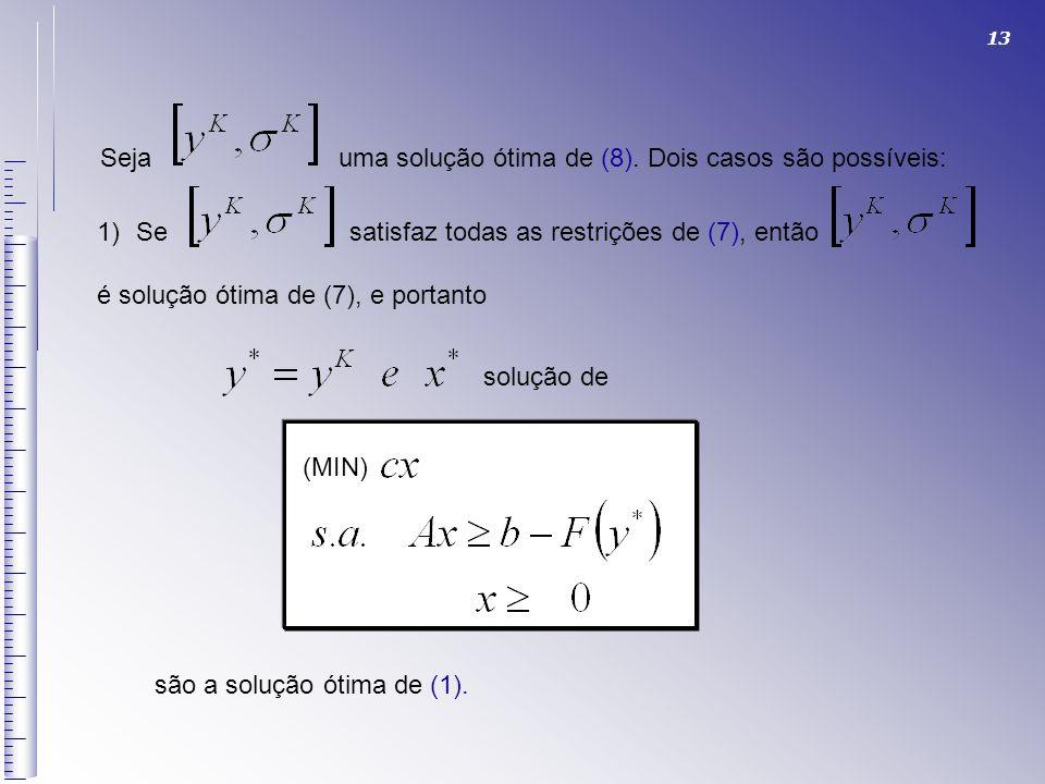 Seja uma solução ótima de (8). Dois casos são possíveis: