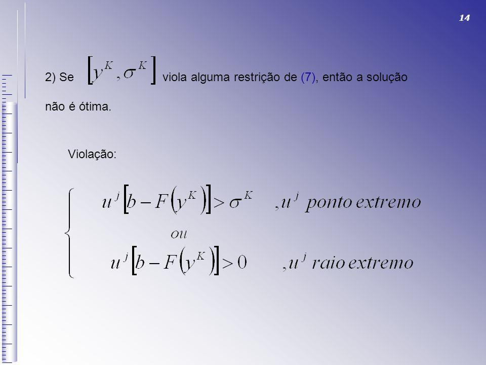 2) Se viola alguma restrição de (7), então a solução