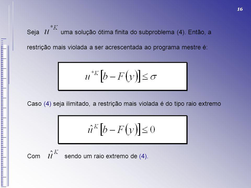 Seja uma solução ótima finita do subproblema (4). Então, a