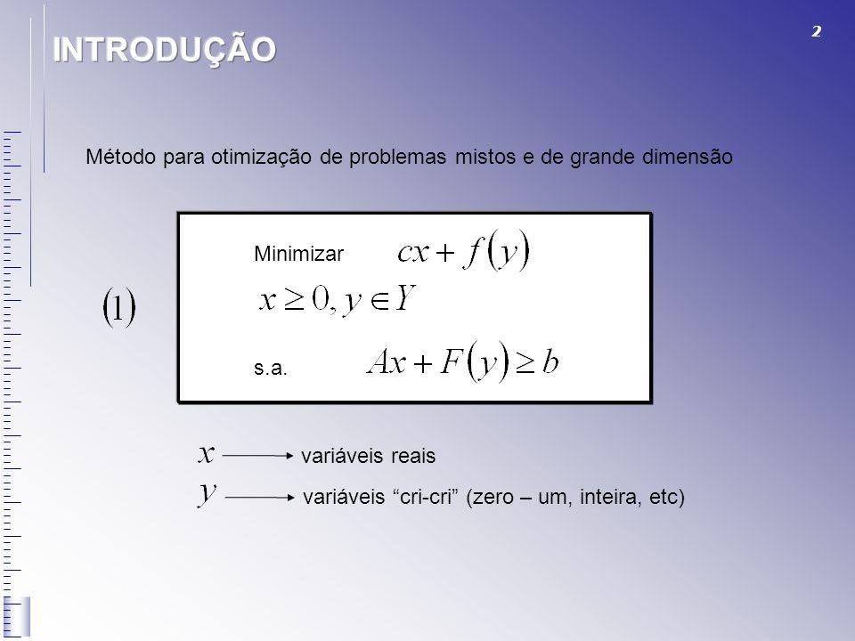 INTRODUÇÃO Método para otimização de problemas mistos e de grande dimensão. Minimizar. s.a. variáveis reais.