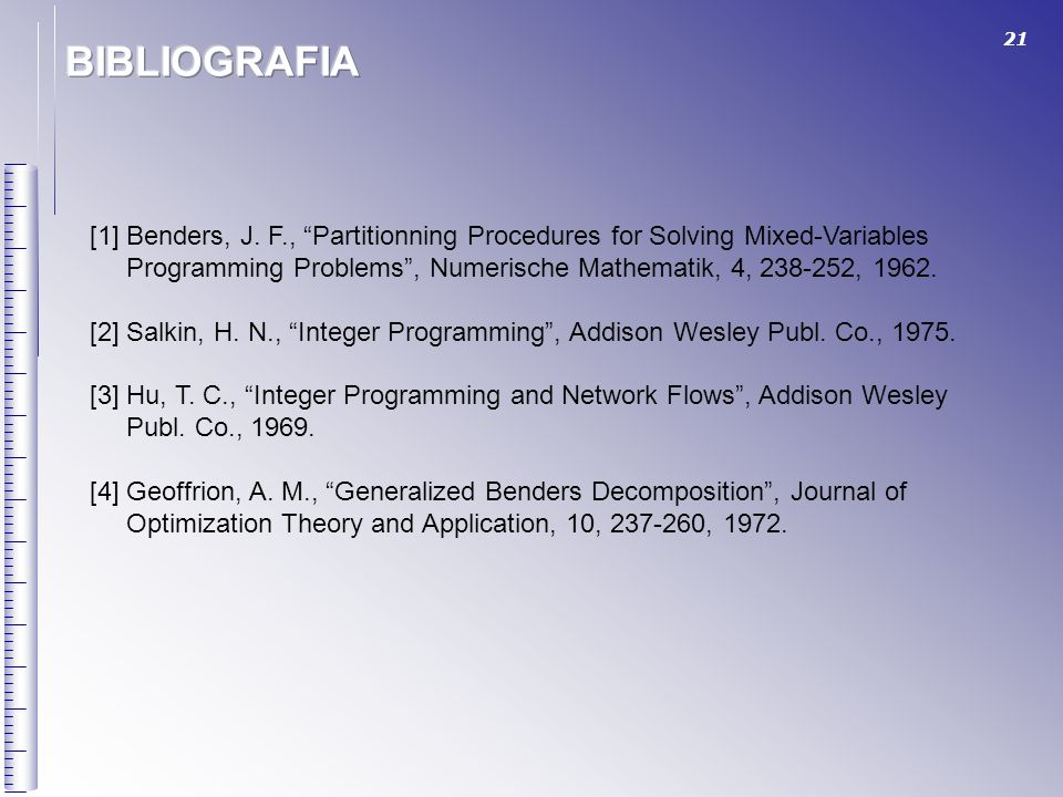 BIBLIOGRAFIA [1] Benders, J. F., Partitionning Procedures for Solving Mixed-Variables.