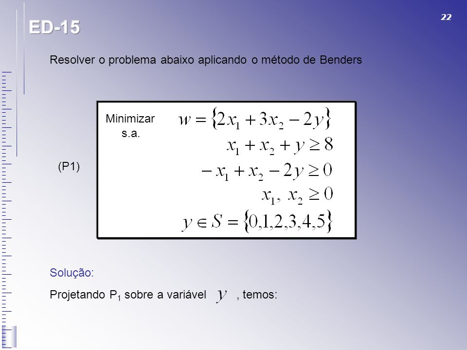 ED-15 Resolver o problema abaixo aplicando o método de Benders