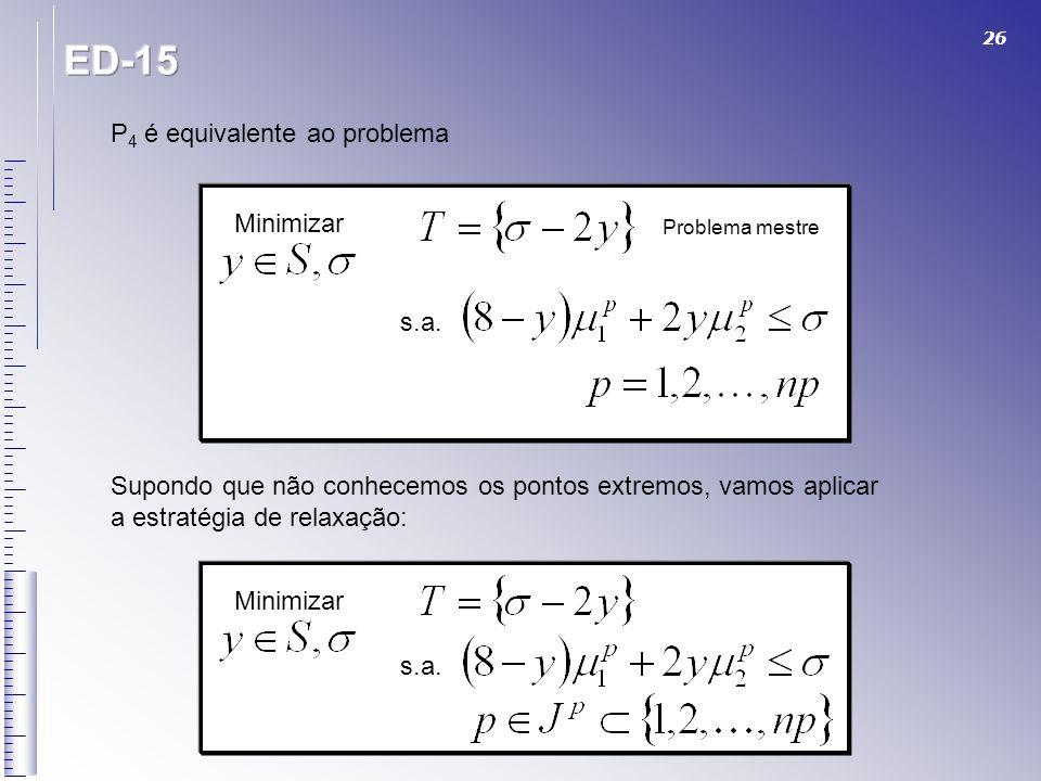ED-15 P4 é equivalente ao problema Minimizar s.a.