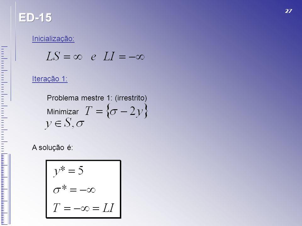 ED-15 Inicialização: Iteração 1: Problema mestre 1: (irrestrito)