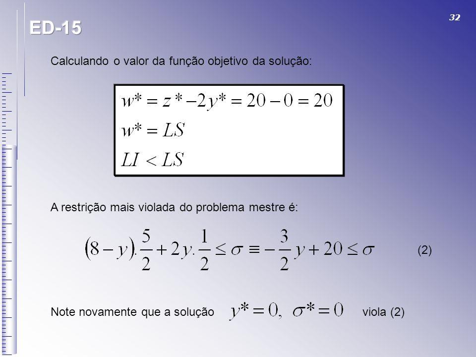ED-15 Calculando o valor da função objetivo da solução: