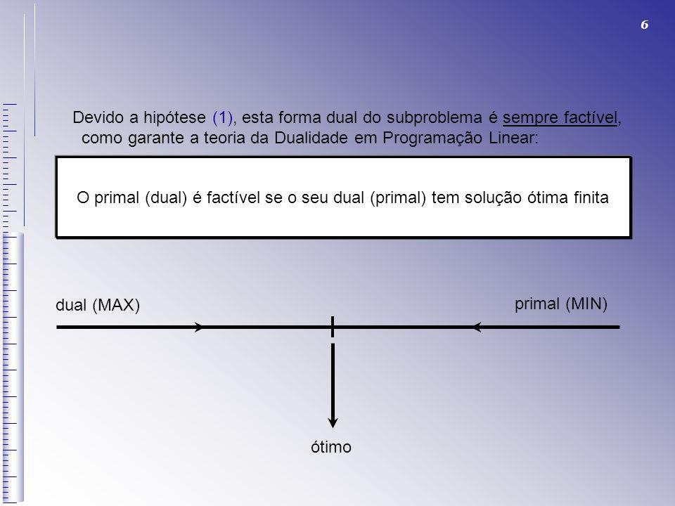 Devido a hipótese (1), esta forma dual do subproblema é sempre factível,