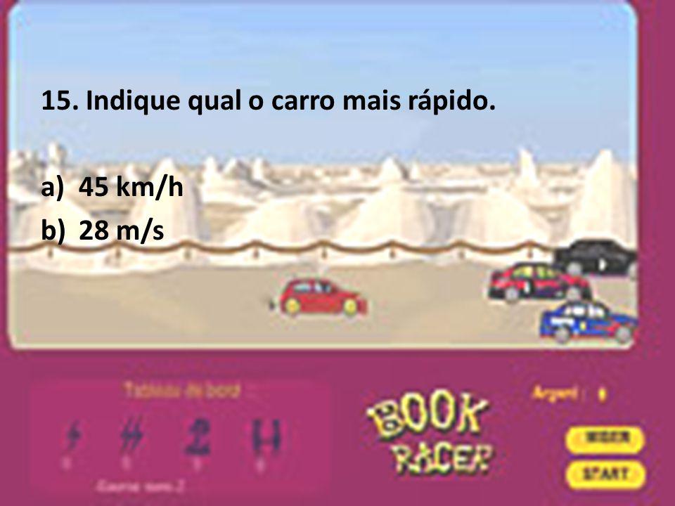 15. Indique qual o carro mais rápido.