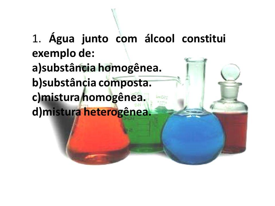 1. Água junto com álcool constitui exemplo de: