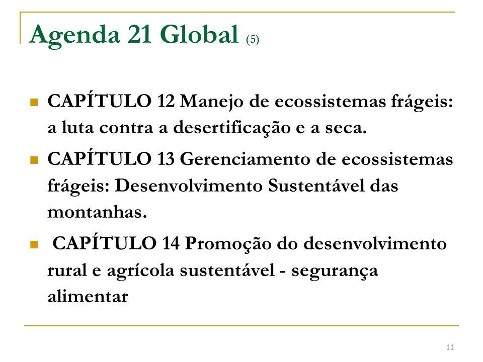 Agenda 21 Global (5) CAPÍTULO 12 Manejo de ecossistemas frágeis: a luta contra a desertificação e a seca.