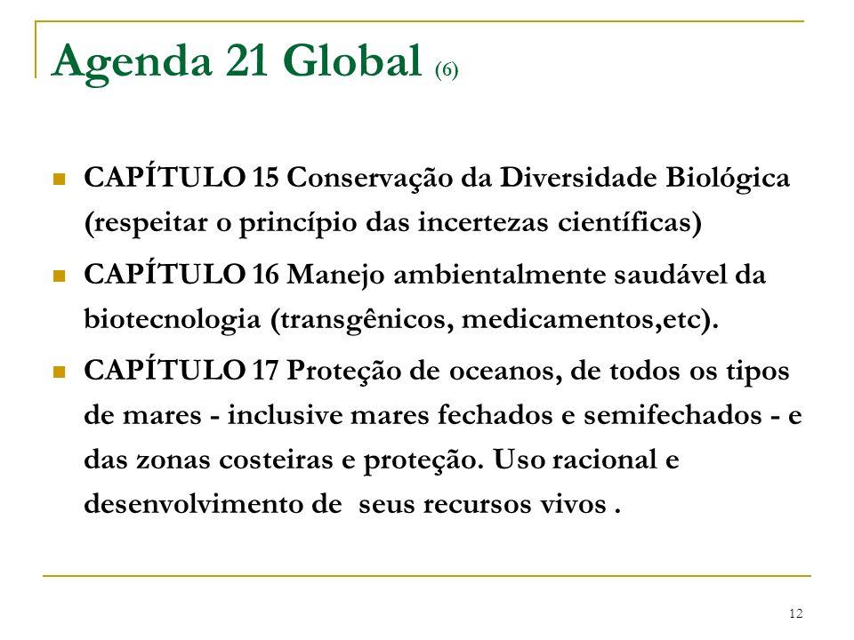 Agenda 21 Global (6) CAPÍTULO 15 Conservação da Diversidade Biológica (respeitar o princípio das incertezas científicas)