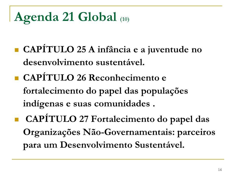 Agenda 21 Global (10) CAPÍTULO 25 A infância e a juventude no desenvolvimento sustentável.