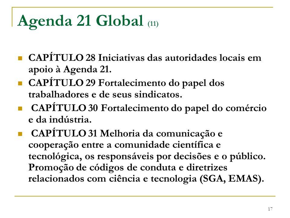 Agenda 21 Global (11) CAPÍTULO 28 Iniciativas das autoridades locais em apoio à Agenda 21.
