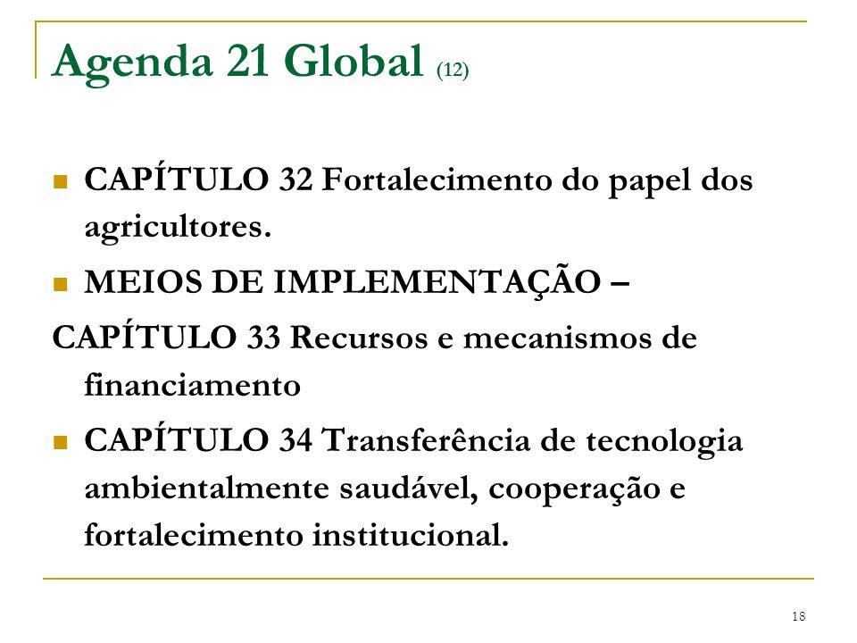 Agenda 21 Global (12) CAPÍTULO 32 Fortalecimento do papel dos agricultores. MEIOS DE IMPLEMENTAÇÃO –