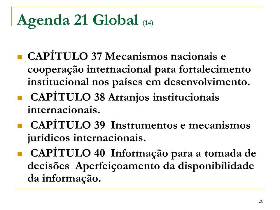 Agenda 21 Global (14) CAPÍTULO 37 Mecanismos nacionais e cooperação internacional para fortalecimento institucional nos países em desenvolvimento.
