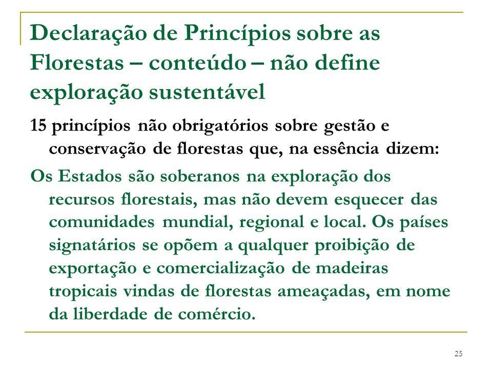 Declaração de Princípios sobre as Florestas – conteúdo – não define exploração sustentável