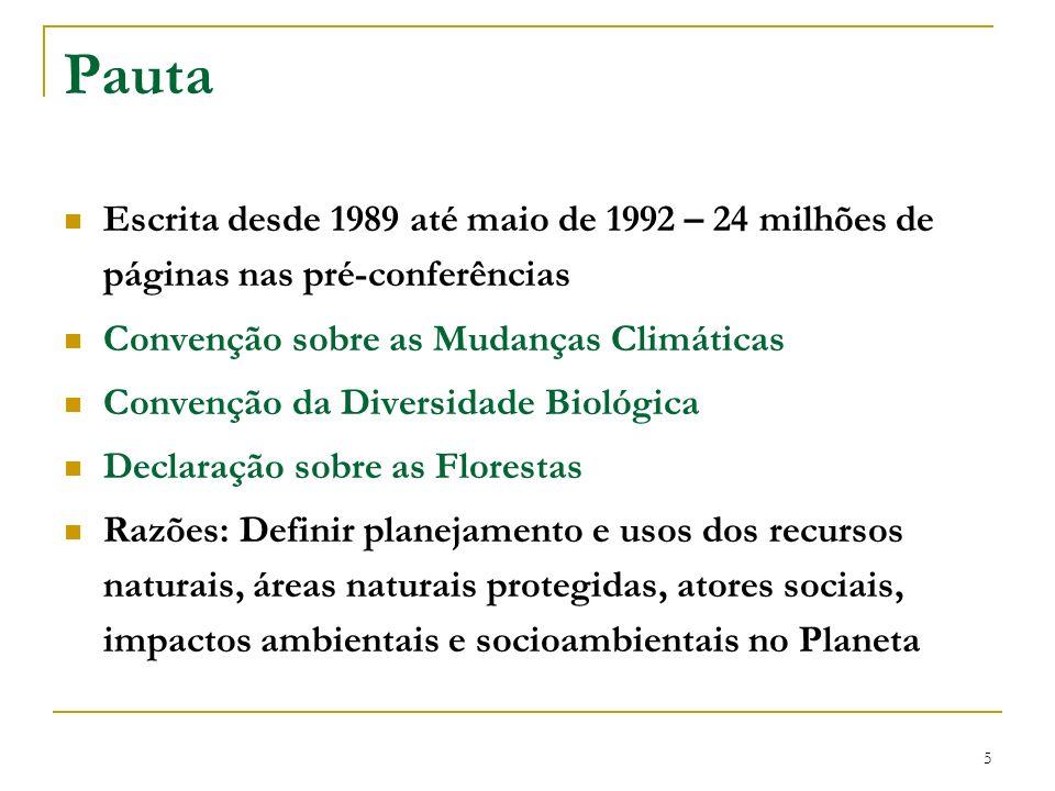 Pauta Escrita desde 1989 até maio de 1992 – 24 milhões de páginas nas pré-conferências. Convenção sobre as Mudanças Climáticas.