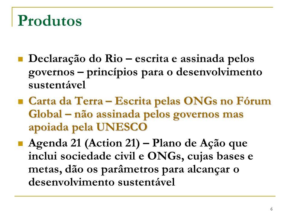Produtos Declaração do Rio – escrita e assinada pelos governos – princípios para o desenvolvimento sustentável.