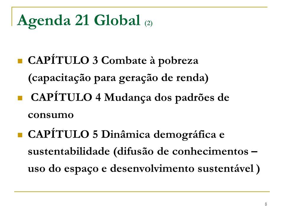Agenda 21 Global (2) CAPÍTULO 3 Combate à pobreza (capacitação para geração de renda) CAPÍTULO 4 Mudança dos padrões de consumo.