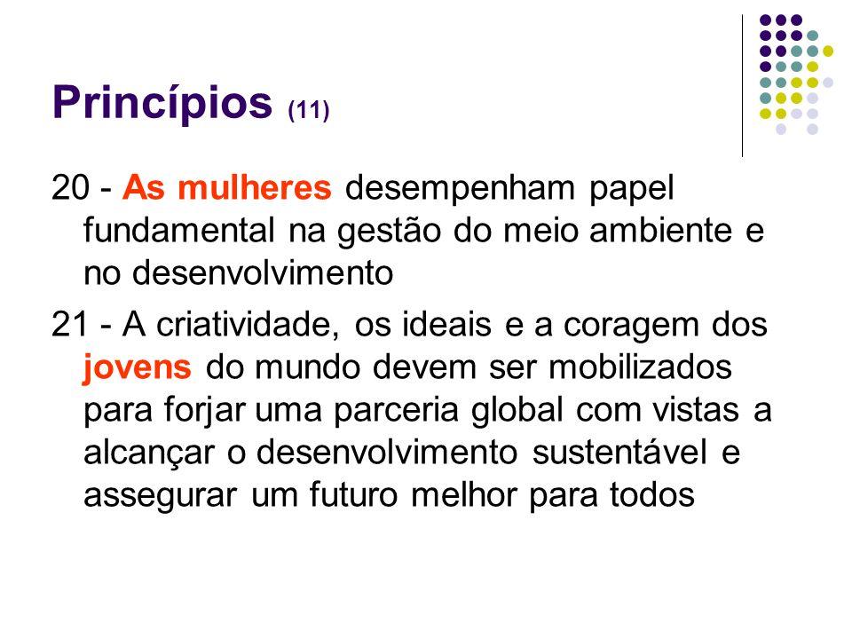 Princípios (11) 20 - As mulheres desempenham papel fundamental na gestão do meio ambiente e no desenvolvimento.